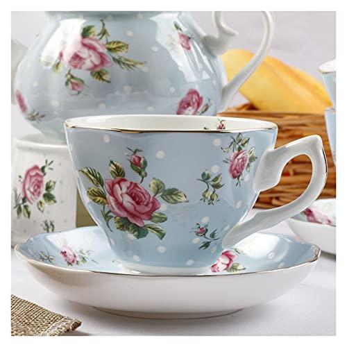 Essinged Hueso China Tazas de café Platos Eleware Europeo Estilo Pastoral Europeo Impresión Floral Tarde Conjunto de té de Porcelana Tazas y Placas 170ml (Color : 2)