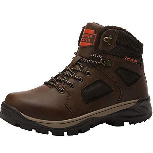 Hombre Botas de Nieve Impermeable Botas de Invierno Forro Piel Zapatillas Trekking Senderismo Sneakers Marrón 40