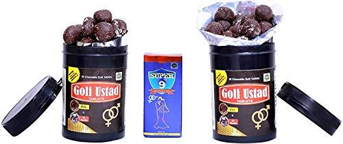 Ayurvedic Goli Ustad Chewable Soft 30+30 Tablets with Saffron & Shilajeet + 15ml Massage Oil for Men - by Shopworld2