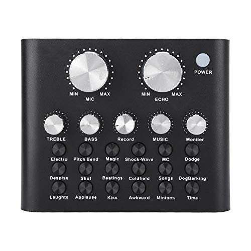 ASHATA Live Sound Card,V8 Digitaler Audiomixer Musik Live Übertragung Karaoke Sound Voice Changer,Handy Computer Live Online-Gesang Soundkarte Karaoke Studio Audio Mixer Schwarz