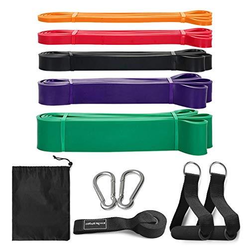 Lixada Fitnessband Widerstandsbänder Set aus Naturlatex mit Türanker Schaumstoff Griffe und Tragetasche für Krafttraining Fitness