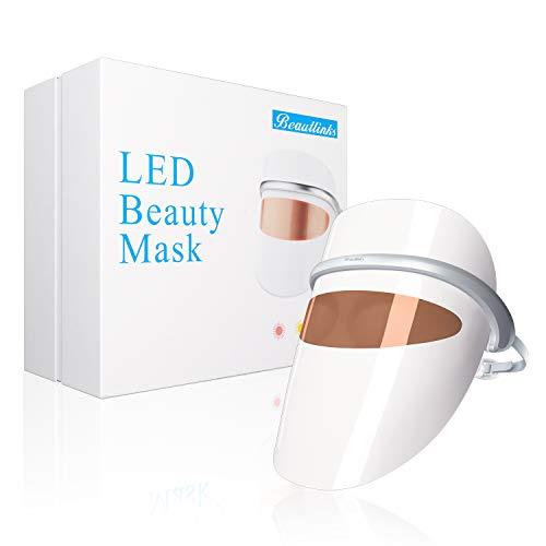 LED Photon Therapy Masque Facial, Beautlinks LED Masque Soin Visage 3 Photothérapie Couleurs de la Lumière Beauté, Soins des Yeux et Massage par Vibration, Led Masque Luminothérapie Soins de la Peau