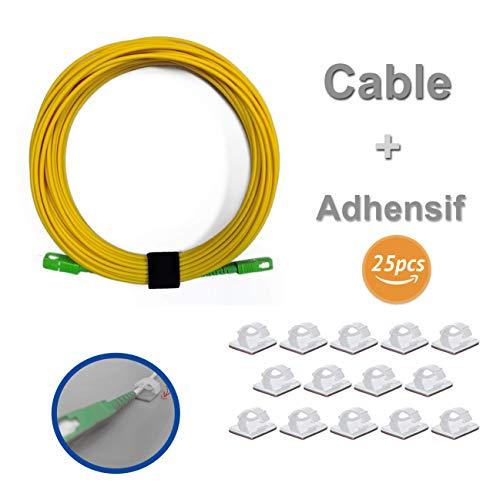 Elfcam LWL-Kabel SC/APC á SC/APC Monomode, mit 25 Kabelclips, selbstklebend, Fiber kompatibel mit Orange Livebox, SFR La Box Fibre und Bouygues Telecom Bbox, Gelb 20M weiß