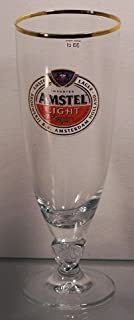 Amstel Light Gold Band Chalice Glasses Set of 4 Brewery Beer Glassware
