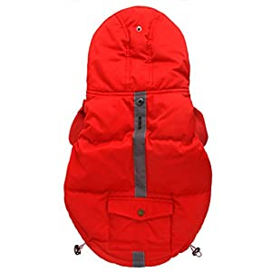 PetBoBo Dog Cat Winter Waterproof Thicken Down Jacket Coat Hoodies Outwear Warm Clothing for Winter Small Large Doggie Dogs Red Medium