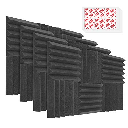 "DEKIRU 48 Pack Acoustic Foam Sound Proof Foam Panels Studio Foam Wedges 12""X 12""X 2"", High Density Fireproof Soundproof Foam, Sound Foam for Acoustic Treatment and Wall Decoration (With Tapes)"