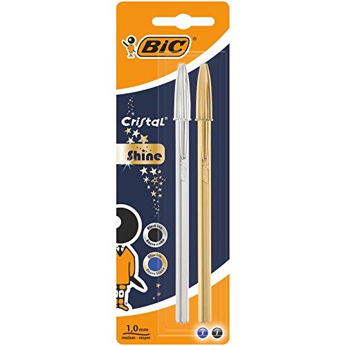 BIC Celebrate Cristal Shine bolígrafos punta media (1,0 mm) - Cuerpo y colores Surtidos, Blíster de 2 unidades