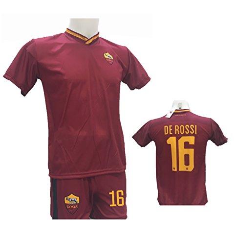 Completo Calcio Maglia Roma DE Rossi 16 + Pantaloncino Stampato con Numero 16 Replica Autorizzata 2017-2018 Bambino (Taglie 2 4 6 8 10 12) Adulto (S M L XL) (10 Anni)