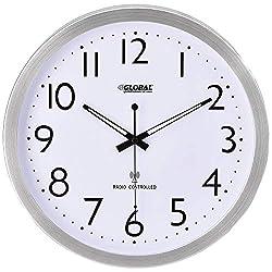 Global Industrial 14 Atomic Wall Clock, Stainless Steel