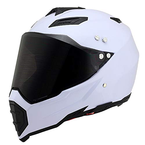 Woljay Off Road Helm Motocross-Helm Motorradhelm Motocrosshelme Fahrrad ATV (M, Weiß)