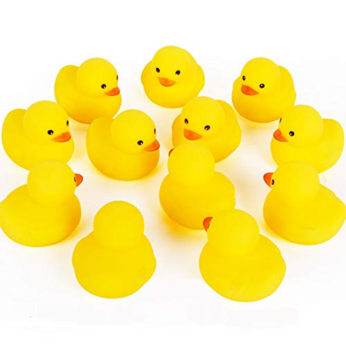 AHUA Bath Duck Toys 12 PCS Mini Rubber Ducks Squeak and Float Ducks Baby Shower Toy for Toddlers Boys Girls Over 3 Months(1.8'')