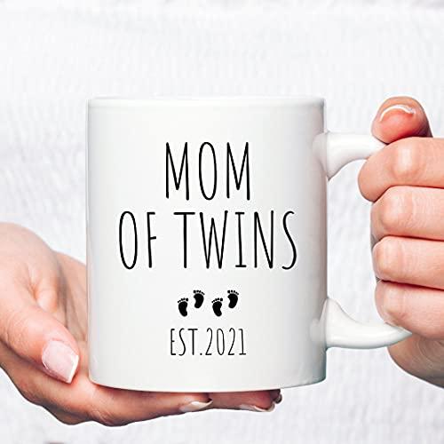 DKISEE Taza de café blanca de 325 ml, taza de café de mamá de gemelos, regalo de mamá de gemelos, idea de regalo de gemelos, regalo de gemelos, regalo de gemelos, taza de té de oficina en casa
