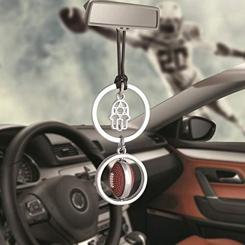 ZYGJ Auto Ornamente Liebe Rugby Fußball Mit Händen Anhänger Auto Innenrückspiegel Dekoration Baumeln Trim Zubehör,A1