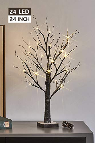 Eambrite Battery-Operated 24' Snow Bonsai Tree Lights with 24 Warm White LED for...