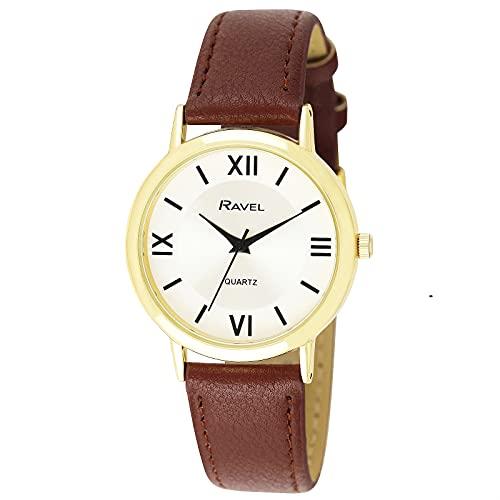 Ravel Reloj unisex clásico redondo con números romanos, Marrón y dorado, Unisex - 36mm case,