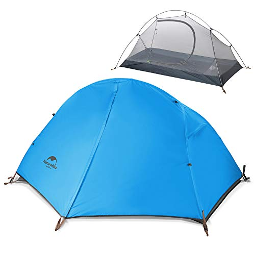 Naturehike Backpacking Camping Tent 1 Person Ultralight Waterproof Compact Portable for Outdoor Hiking Cycling Bikepacking, 3 Season, Easy Setup, Anti-UV, Large Size with Footprint - 210T Sky Blue