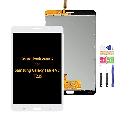 Compatible para Samsung Galaxy Tab 4 VE 7 'pulgadas pantalla LCD T239 táctil Sensor piezas de repuesto para SM-T239 montaje de pantalla (blanco sin marco)