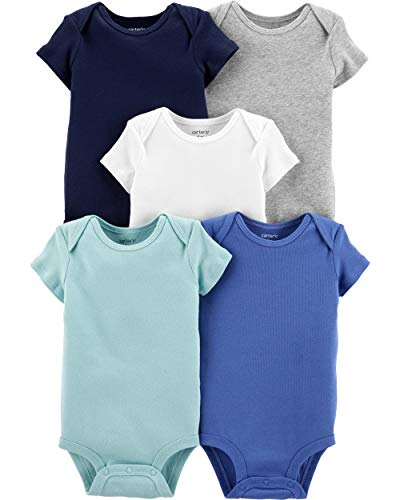 Carter's Baby Boys 5 Pack Bodysuit Set, Multi Solid, 24 Months