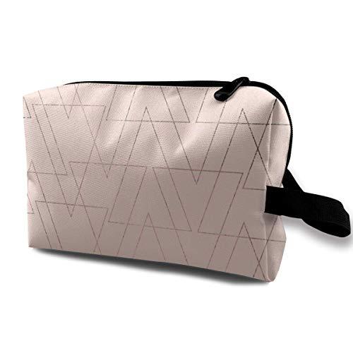 Triangoli sottili geometrici moderni personalizzati in oro rosa Fard Modello astratto rosa Cura della pelle da donna Borsa cosmetica Borsa cosmetica portatile Waterpr
