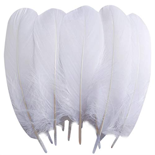 TommoT 100 Pcs 5-7 Inch Natural Large White Goose Feathers for DIY Crafts or Dream Catcher