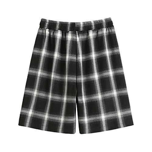 Pantalones Cortos a Cuadros de Cintura Alta de Verano para Mujer Pantalones Cortos Casuales de Adelgazamiento de sección Delgada con Cintura elástica Suelta con Bolsillos Small