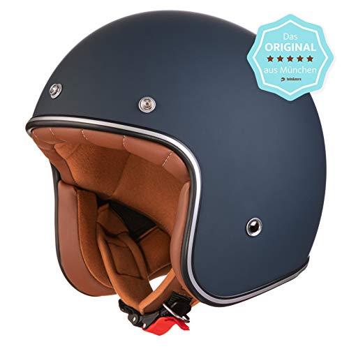 ORIGINAL Fräulein Irmi Retro Vespa-Helm, Jet-Helm mit Sonnen-Visier, Roller-Helm für Frauen und Herren im edlen Vintage-Look, Qualität nach ECE-Norm, dunkelblau matt