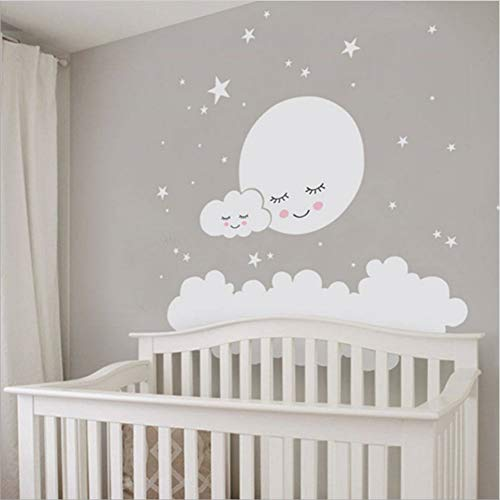 Luna estrellas Etiqueta de La Pared Nube Nursery Pegatinas de Pared Para los niños Habitación Tatuajes de Arte Decoración Infantil niñas decoración vinilo decorativo bebé