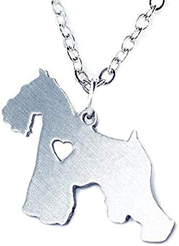 YOUZYHG co.,ltd Collar de Cadenas de Schnauzer Collar de Color Plateado Animal Perro Colgante joyería para Mascotas Encanto Familia Mascotas Regalo Collar de Cadena