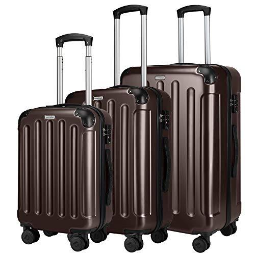 Amasava Koffer Handgepäck Hartschalen 4 Rollen Koffer Set Trolley mit TSA Zahlenschloss Reisekoffer Set ABS + PC Hartschale 3-teiliges Set Rollkoffer Gepäck...