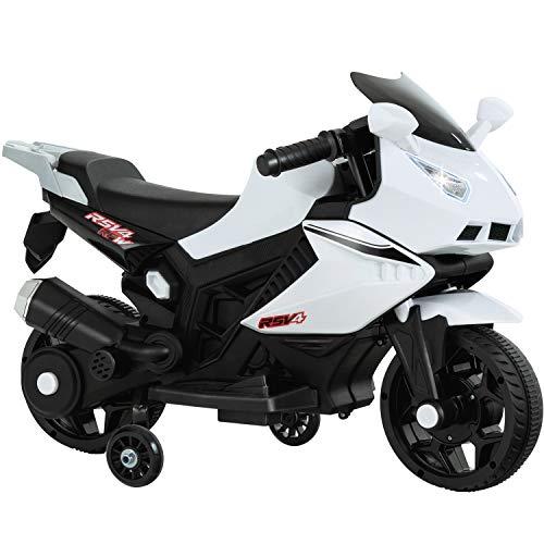 Uenjoy Kids Ride On Motorcycle 6V Electric Battery Powered Motorbike for Kids, Training Wheels, Music, Headlight,White