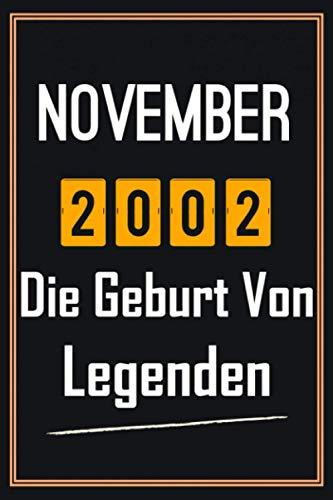 November 2002 Die Geburt von Legenden: 18. geburtstag geschenk jungs mädchen, geschenkideen für 18 jährige Bruder Schwester Freund - Notizbuch a5 liniert