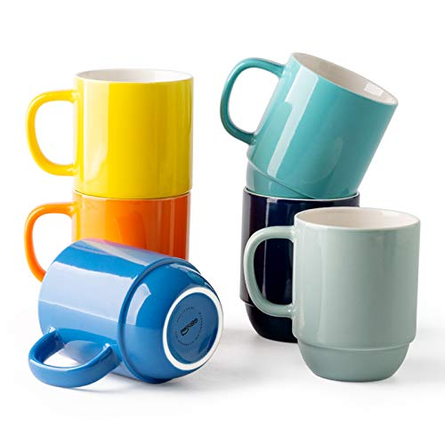 GBHOME Stackable Coffee Mugs Set of 6, Ceramic Coffee Mugs Set for Women/Men/Office/Home/Gift, 14oz Coffee Cups for latte,tea,cocoa, Assorted Colors