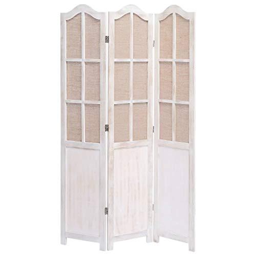 UnfadeMemory Biombo Divisor Plegable de Tela para Crear Privacidad,Biombo de Pie,Divisor para Habitación o Sala de Estar,Estilo Vintage,Estructura de Madera de Paulownia (3 Paneles-105x165cm)