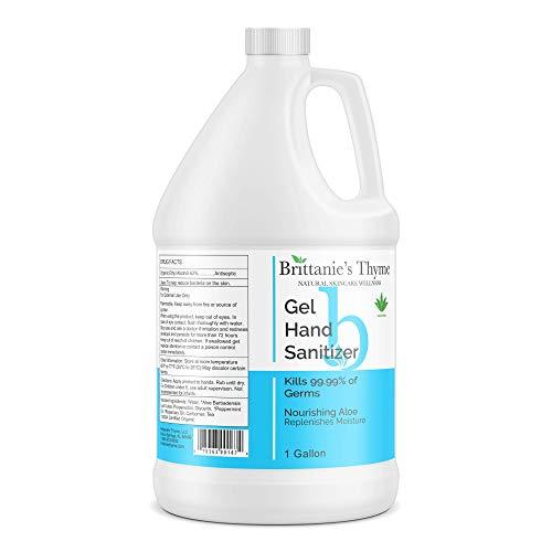 Brittanie's Thyme All Natural Hand Sanitizer Gel Pump, 1 Gallon (128 oz) | Nourishing Aloe Replenishes Moisture | 62% Ethyl Alcohol - Kills 99.99% Germs