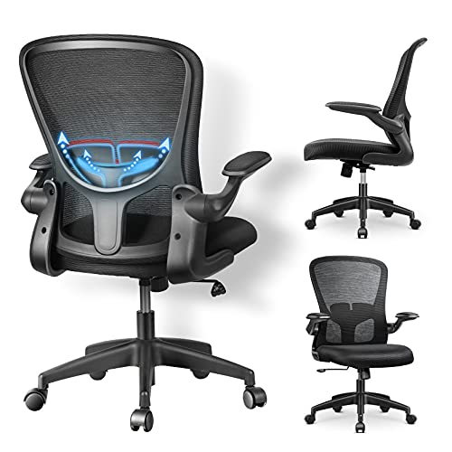 Home Office Chair, mfavour Ergonomic Office Chair with Flip-up Armrest, Lumbar Support, Computer Mesh Chair for Home Office (Black)