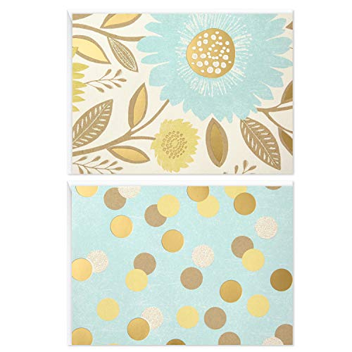 Hallmark Blank Note Cards (Flowers and Dots, 50 Blank Cards or Thank You Cards with Envelopes)