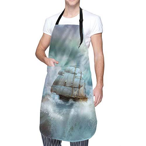 Delantal de Cocina Impermeable con Bolsillos,Majestuosa vida marina náutica y barco pirata en un,Ajustable Delantales Hombre Mujer Mandil Cocina para Jardinería Restaurante Barbacoa Cocinar Hornear