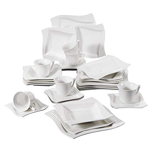 MALACASA, Serie AMPARO, 30 Teilig Cremeweiß Porzellan Geschirrset Kombiservice Tafelservice