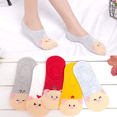5 par/Lote Verano Casual Lindo Mujeres Calcetines Animal Dibujos Animados ratón Pato Calcetines algodón Invisible Divertido Calcetines tamaño 35-41-a24