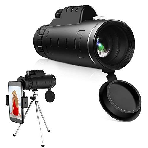 40*60 Vision nocturna al aire libre Telescopio de alta definición, Lente con clip Cámara del teléfono celular Kit de lentes con trípode, Compatible con para iPhone X 8 7 6s Plus, Samsung y más