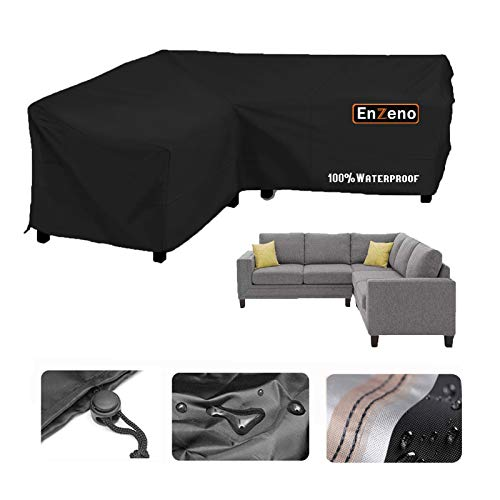 Enzeno Garden V-Shape Furniture Cover Waterproof, 420D Heavy Duty Oxford Fabric Outdoor Rattan Corner Sofa Cover with Waterproof Tape (270 * 270 * 90cm)