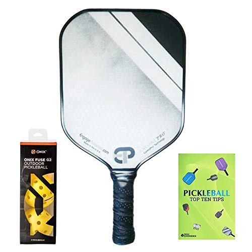 Engage Encore Pro Pickleball Paddle & Onix 3-Pack Fuse G2 Pickleball Balls & Free Pickle Ball Tips Sheet - Premier Pickleball Set - Racket and Balls for Beginner and Pro Players (Red Fade)