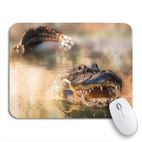 Gaming mouse pad große alligator schwimmen im see sein schwanz und kopf rutschfeste gummi backing mousepad für notebooks computer maus matten
