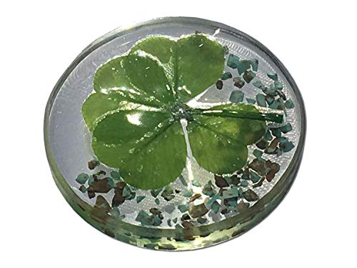 "KIN-HEBI Real Four Leaf Clover Good Luck Pocket Token, Preserved, 1.25"" (Including Turquoise)"