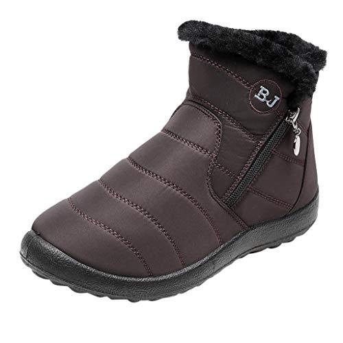 HDUFGJ Damen Schneeschuhe Plus Samt Warm halten rutschfeste Wasserdicht Outdoor-Schuhe für Sport Hiking Trekking-& Wanderhalbschuhe Verschleißfest Freizeitschuhe Laufschuhe Bequem36 EU(Kaffee)