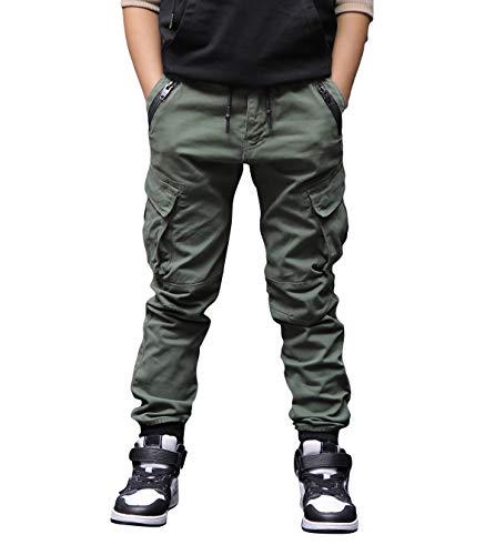 CAMLAKEE Jungen Jogger Hose aus Twil Kinder Slim Fit Cargohose mit elastischem Bund und Kordelzug, Armeegrün, 164 / Größe 14