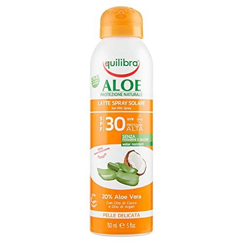 Equilibra Solari, Aloe Latte Spray Solare Spf 30, Latte Solare con Aloe Vera, Olio di Cocco, Olio di Argan e Vitamina E, Protegge dalle Scottature, per un'Abbronzatura Sana, Water Resistant, 150 ml
