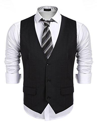 Burlady Burlady Herren Weste Anzugwesten Slim fit Anzug V-Ausschnitt Ärmellose Knöpfe Brusttasche Business Hochzeitskleid