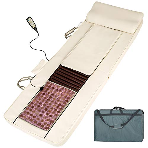 tectake Luxus Shiatsu Massage Matratze mit Jadestein Wärmematte + Wärmefunktion + Fernbedienung