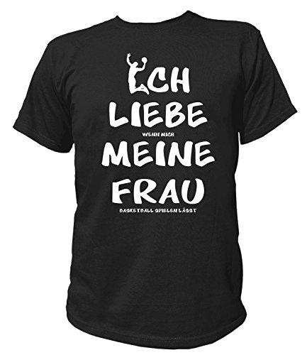 Artdiktat Herren T-Shirt | Ich Liebe wenn Mich Meine Frau Basketball Spielen lässt | Funshirt Humor Fun Spaß Kult Spruch Größe L, schwarz